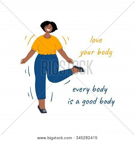 Happy body positive woman dance, Love your body. Every body is a good body. Hand drawn flat cartoon illustration. stock photo
