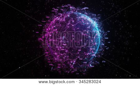 Abstract futuristic planet Earth surrounded by virtual elements. Dots, numbers and lanyi. Element of this image furnished by NASA. 3D rendering. Technology concept stock photo