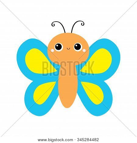 Butterfly flying insect icon. Blue Yellow color. Cute cartoon kawaii funny animal character. Smiling face. Baby kids collection. Flat design. White background. Isolated. Vector illustration stock photo