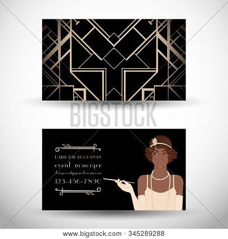 Retro fashion. glamour girl of twenties. African American woman. Vector illustration. Flapper 20s style. Vintage party invitation stock photo