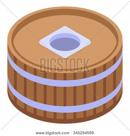 Barrel water mill icon. Isometric of barrel water mill vector icon for web design isolated on white background stock photo