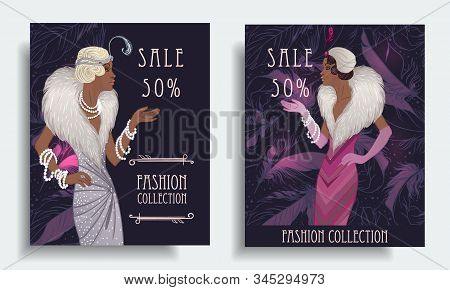 Retro fashion. glamour girl of twenties, African American woman. Vector illustration. Flapper 20s style. stock photo