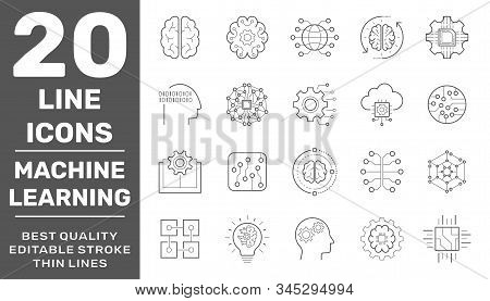 Set of AI, IoT and Data Analysis Related Technology Vector Line Icons. Contains such Icons as Charts, Cyborg, Traffic Analysis, Big Data and more. Editable Stroke. EPS 10 stock photo