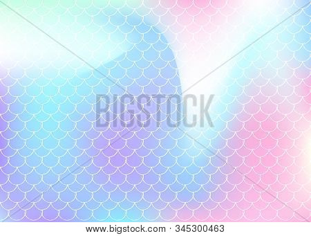 Holographic mermaid background with gradient scales. Bright color transitions. Fish tail banner and invitation. Underwater and sea pattern for girlie party. Fluorescent back with holographic mermaid. stock photo