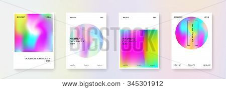 Holographic shape set. Abstract backgrounds. Rainbow holographic shape with gradient mesh. 90s, 80s retro style. Pearlescent graphic template for brochure, banner, wallpaper, mobile screen stock photo