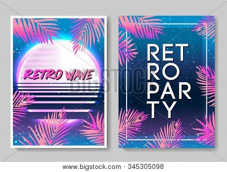 Retro Futurism flyer set. Vector futuristic synth wave illustration. 80s Retro poster Background. Good design for poster, t-shirt print design and poster background. Futuristic vector illustration stock photo
