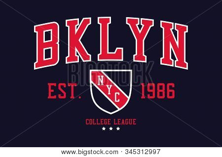 NYC, Brooklyn college typography graphics with shield for t-shirt. New York, Bklyn college league apparel print. Vector illustration. stock photo