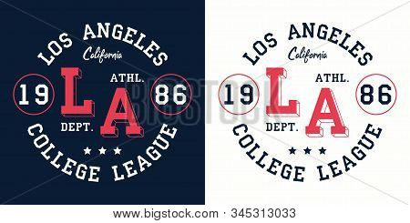 LA college league print for t-shirt design. Los Angeles, California typography graphics for college apparel. Vector illustration. stock photo