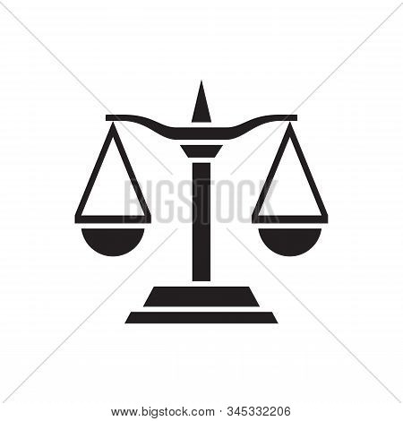 Libra scale - black icon on white background. Graphic design vector illustration. Balance scale abstract concept sign. Scale black icon. stock photo