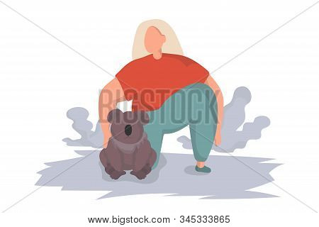 Female volunteer hugs a koala and takes care of her. Pray For Australia. Save the planet and animals. Australia is fire an environmental disaster. Climate change effect. Social care and charity. Australia donation concept. stock photo