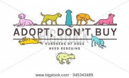 Adopt do not buy. Dog adoption event horizontal poster. Lonely puppy waiting for an owner. Rescuing concept. Editable vector illustration in bright colors isolated on white background. Charity advert stock photo