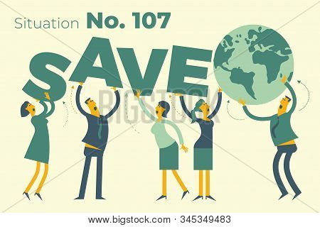 Ecological illustration. Earth day. Men and women are calling to save planet. Ecological thinking. Global warming, CO 2. No plastic. Ecological thinking. ECO activist. Environmental protection. Green. stock photo