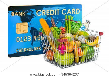 Shopping basket full of grocery products with credit card. Cashless payments concept, 3D rendering isolated on white background stock photo