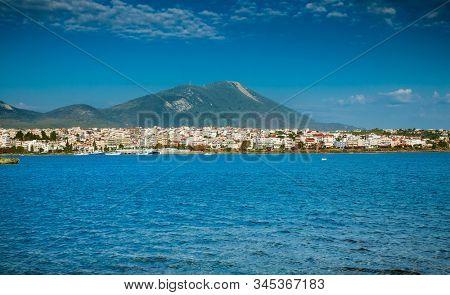 landscape of Chalcis sea with the unique phenomenon called ''crazy water'' Euboea Greece. Editorial use. stock photo