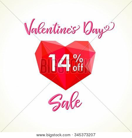 Happy Valentines day congrats and sale 14 % off. Stained glass ruby heart 3D red logo, Calendar date sign, text. White background. Abstract isolated graphic design template. Discount offer symbol -14% stock photo