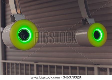 Turnstiles. Checkpoint. Automatic access control. Access system in the building. Automatic turnstile with sliding doors to control the flow of people. Entrance hall with turnstile. stock photo