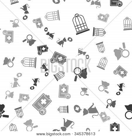 Set Cage for birds, Veterinary clinic symbol, Veterinary clinic symbol and Clipboard with medical clinical record pet on seamless pattern. Vector stock photo