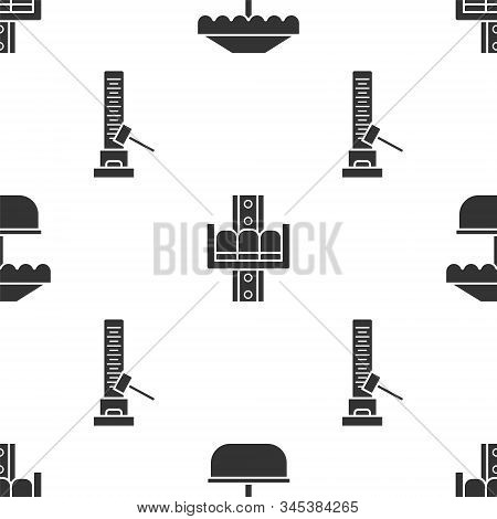 Set Attraction carousel, Attraction carousel and High striker attraction with big hammer on seamless pattern. Vector stock photo