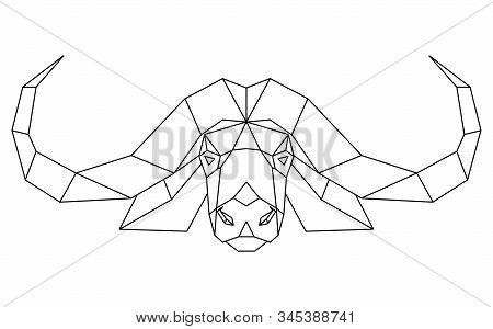 Abstract polygonal head of african bull, cape buffalo. Geometric vector illustration. stock photo