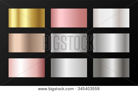 Trendy golden, platinum, bronze, rose gold gradients. Metallic foil texture silver, steel, chrome, platinum, copper, bronze, aluminum, pink gold gradient swatches.  Stylish metallic swatches set. stock photo