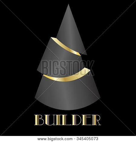 art abstract 3d logo in the form of a black cut cone with golden light stock photo