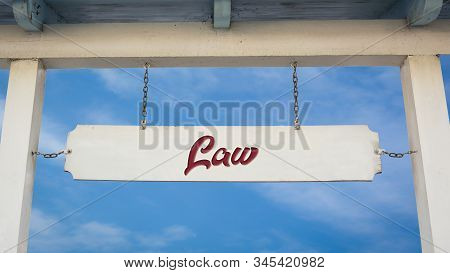Street Sign the Direction Way to to Law stock photo