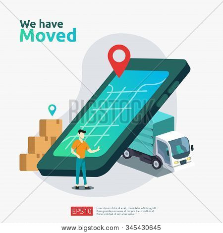 we have moved vector illustration concept. new location announcement business store, home or change office address for landing page template, mobile app, poster, banner, flyer, ui, web, and background stock photo