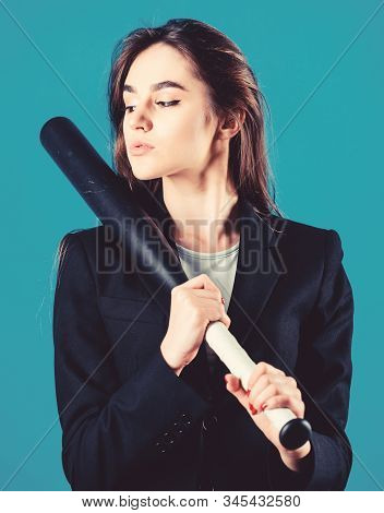 Decisive actions. Confidence and strength. Life game. Pretty and dangerous. Woman pretty girl bear formal jacket and hold baseball bat. Business strategy. Aggressive business. Business lady boss stock photo