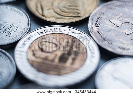 CLose up macro on Israeli sheqel coins, shallow depth of field stock photo