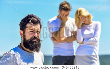 oh no. couple in love. third wheel man. interpersonal relationship. Misunderstanding. family psychology. relationship problems. sworn friends. love triangle. Social problem. Betrayal and divorce stock photo