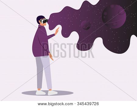 Virtual reality concept.Enthusiastic young girl uses virtual reality goggles and gets into space.Space simulator for the study of astronomy.Using virtual reality for education.Future technology.Vector. Creation and Enjoyment Video about Space. Augment Rea stock photo