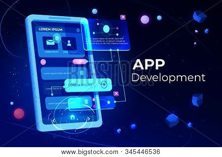 App development banner, adaptive layout application web interface on smartphone touch screen, user software API prototyping, testing, neon glowing background. Cartoon illustration, landing page stock photo