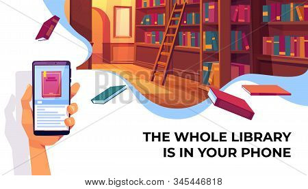 Online library app for reading, banner. Hand holding smartphone with electronic book store application on background with bookshelves, digital technologies in education. Cartoon Illustration stock photo