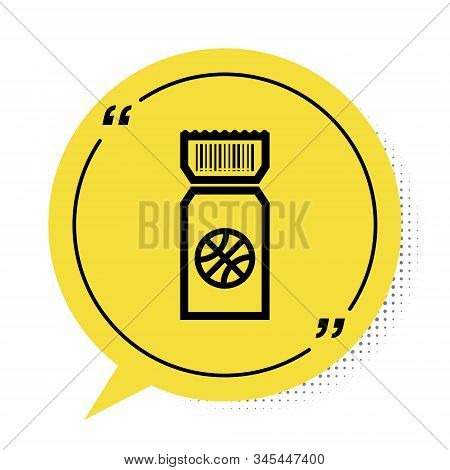 Black Basketball game ticket icon isolated on white background. Yellow speech bubble symbol. Vector Illustration stock photo