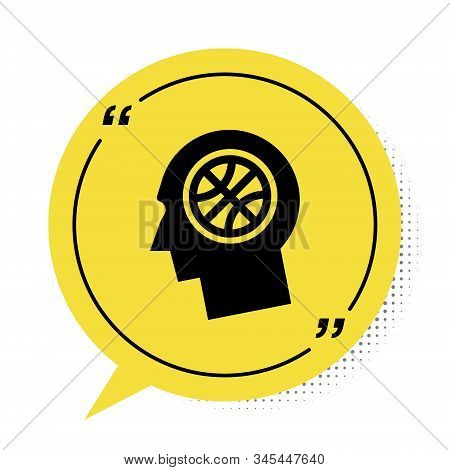Black Thoughts on a basketball icon isolated on white background. Yellow speech bubble symbol. Vector Illustration stock photo