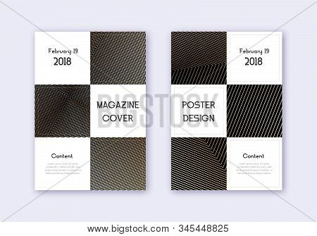 Business cover design template set. Gold abstract lines on black background. Attractive cover design. Lovely catalog, poster, book template etc. stock photo
