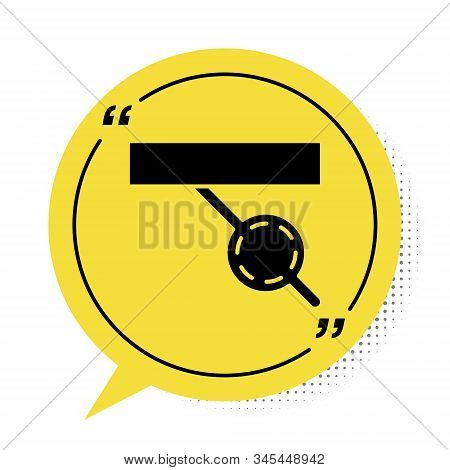 Black Pirate eye patch icon isolated on white background. Pirate accessory. Yellow speech bubble symbol. Vector Illustration stock photo