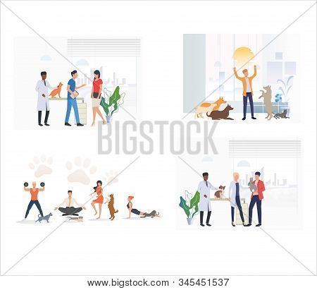 Set of pet owners taking care of pets. Flat vector illustrations of people exercising and playing with pets. Pets, animal shelter, veterinary concept for banner, website design or landing web page stock photo