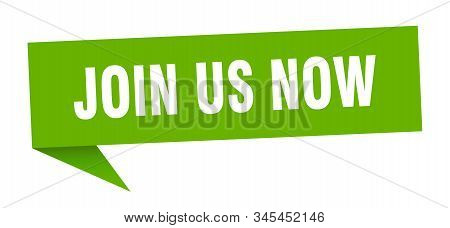 join us now speech bubble. join us now sign. join us now banner stock photo