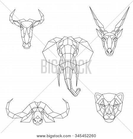Polygonal set of African animals. Geometric heads of a blue wildebeest, cape buffalo, cheetah, eland antelope, elephant. Vector illustration. stock photo