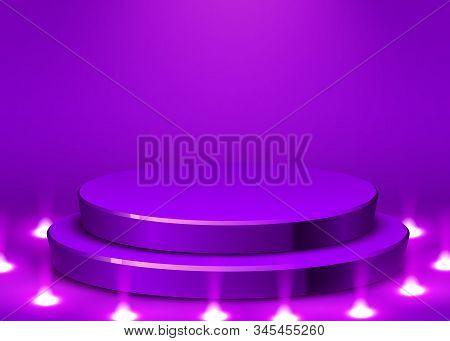 Abstract round podium illuminated with spotlight. Award ceremony concept. Stage backdrop. stock photo