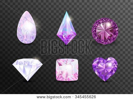 Precious stones and gems, jewelry. Rhinestone and brilliant, sapphire and amethyst, aquamarine and tourmaline, diamond and emerald, quartz and ruby jewels, agate. Vector illustration  jewelry gems stock photo