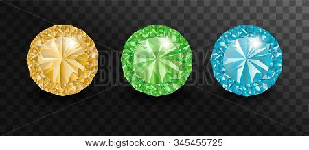 Precious stones and gems, jewelry. Rhinestone and brilliant, sapphire and amethyst, aquamarine and tourmaline, diamond and emerald, quartz and ruby jewels, agate isolated on transparent background stock photo