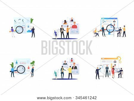 Recruiting agency set. Agents analyzing job candidates profiles. Flat vector illustrations. Career, human resource concept for banner, website design or landing web page stock photo