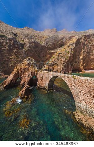 Fort in Berlenga island - Portugal - architecture background stock photo