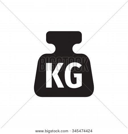 One kilogram weight black icon design. 1 kg sign. Vector illustration. One kilogram weight icon concept design. stock photo