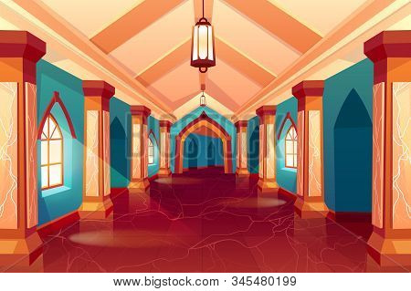 Castle corridor, labyrinth, medieval palace, maze or historical hotel, column hall, empty interior, hallway with pillars and marble floor, antique architecture background. Cartoon Illustration stock photo