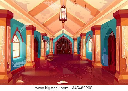 Abandoned castle, empty old palace interior, column hallway with spiderweb, cracked walls, collapsed plaster, corridor perspective view, antique architecture background. Cartoon Illustration stock photo