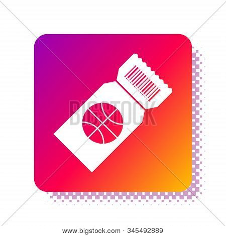 White Basketball game ticket icon isolated on white background. Square color button. Vector Illustration stock photo