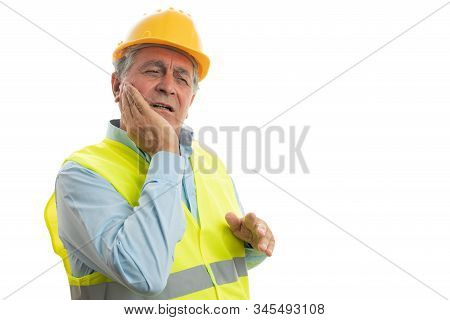 Builder man touching face as toothache concept with hurting expression isolated on white background stock photo